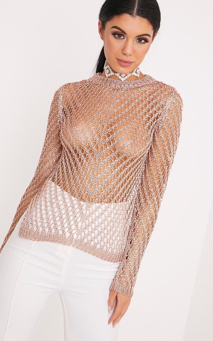 Oleveya Rose Gold Open Knit Metallic Jumper
