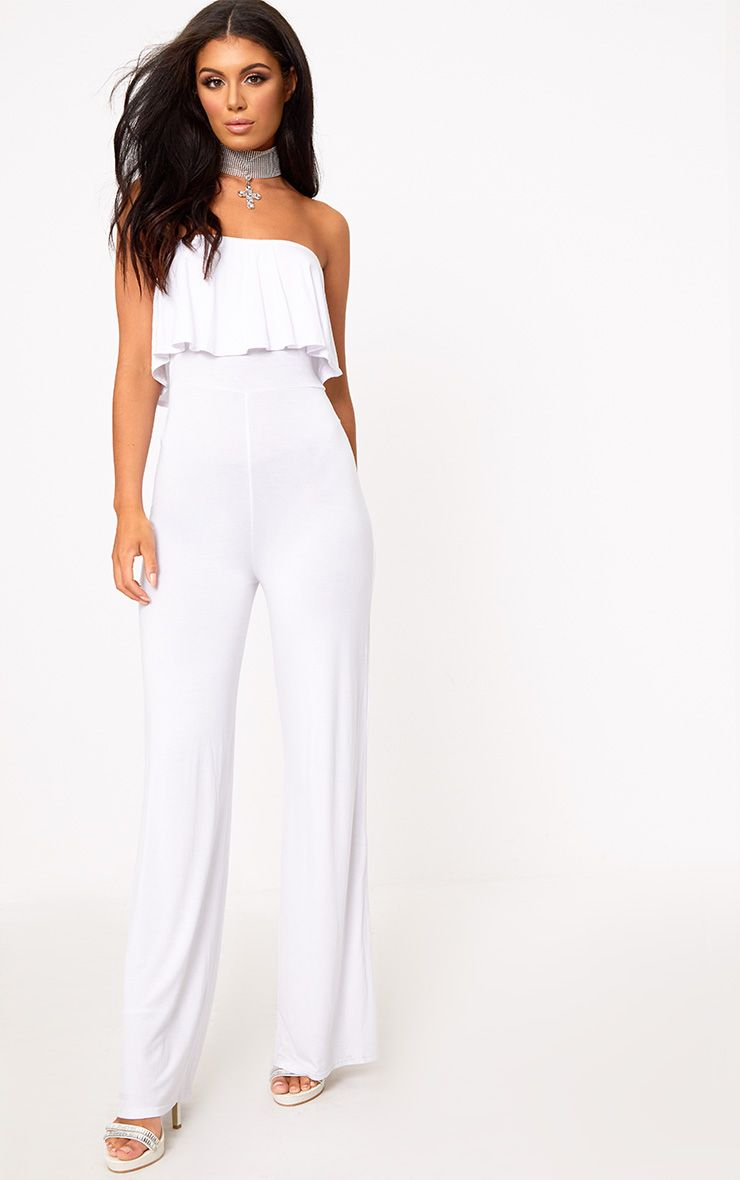 White Jersey Bandeau Frill Jumpsuit