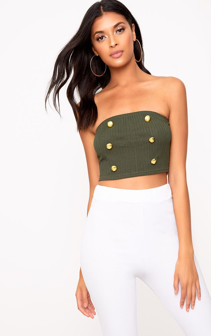 Khaki Military Button Bandeau Crop Top