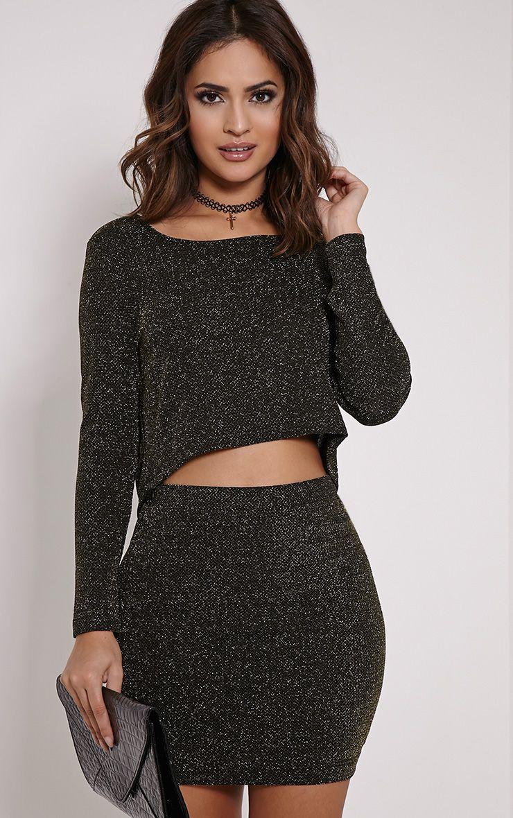 Inara Lurex Black Glitter Mini Skirt 1