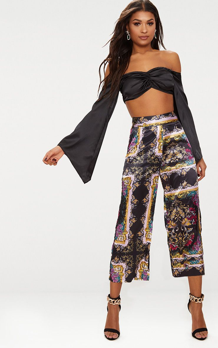 Pink Scarf Print Culottes