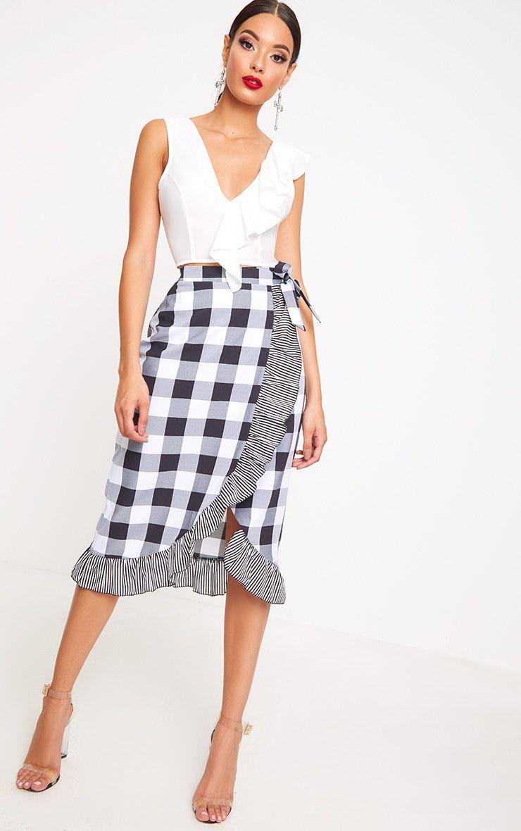 Black Contrast Frill Hem Gingham Midi Skirt