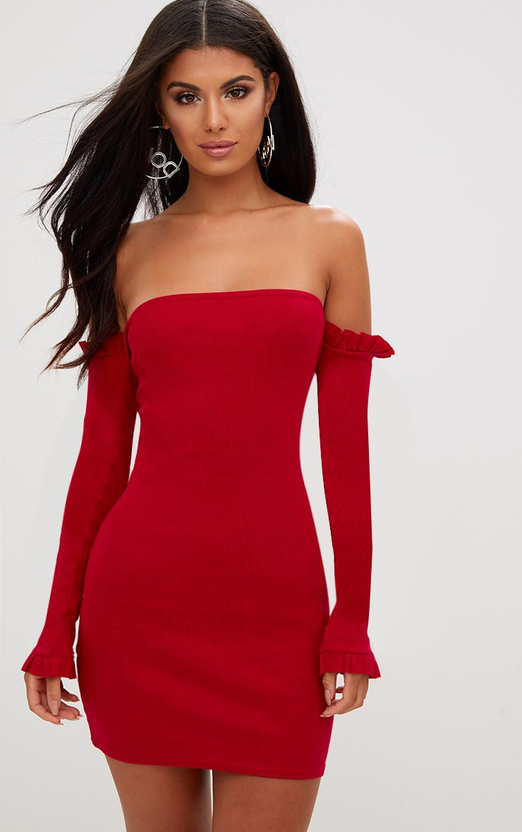 Red Ribbed Frill Bardot Bodycon Dress