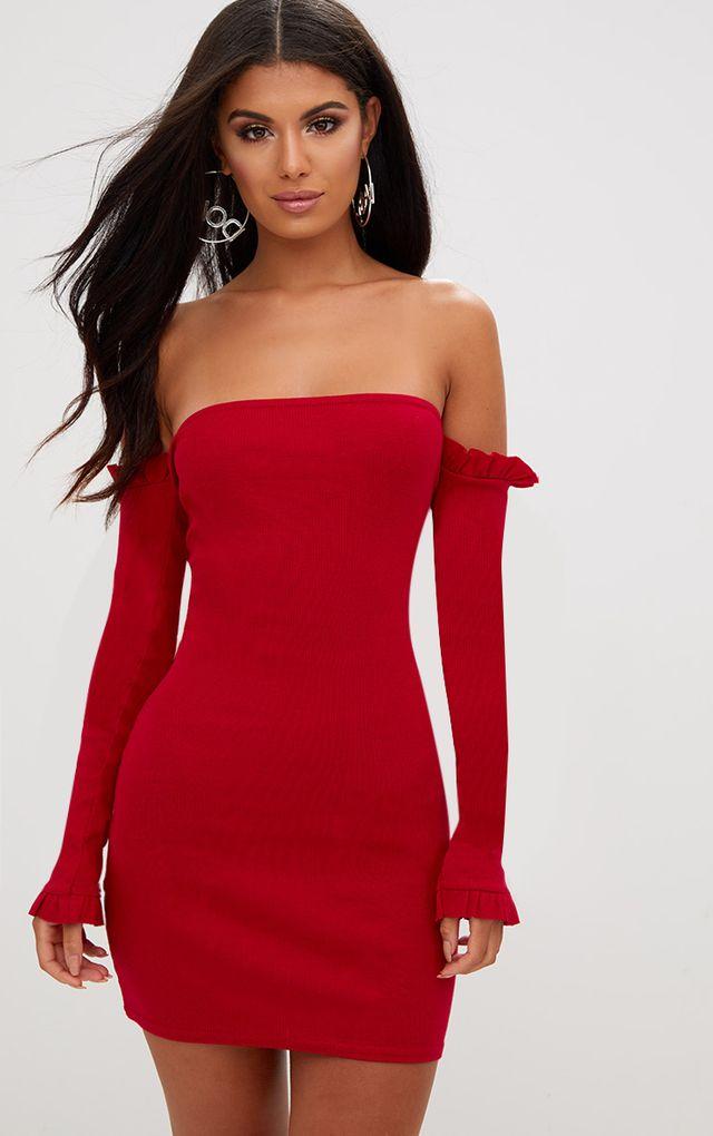 Red Ribbed Frill Bardot Bodycon Dress