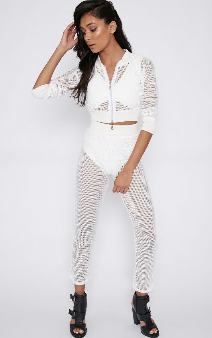 Irina White Fishnet Trousers 1