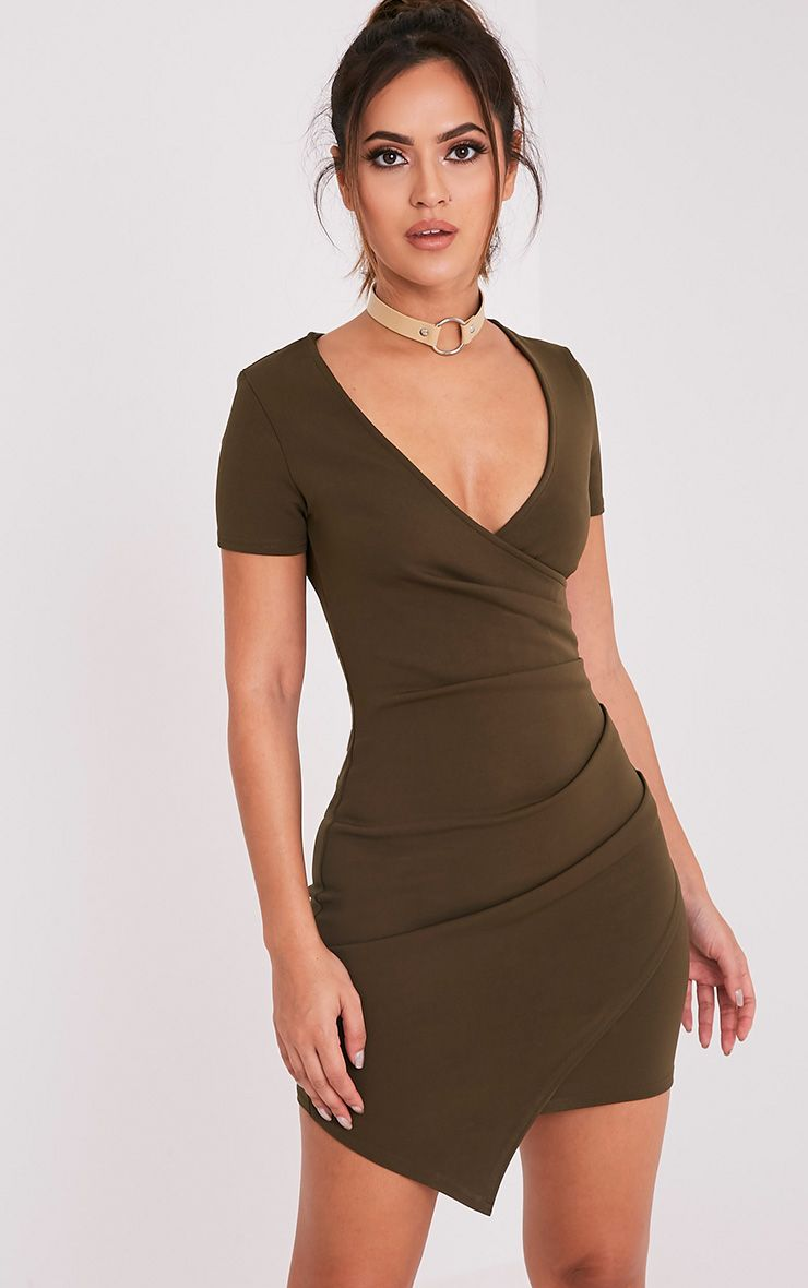 Amarnie Khaki Capped Sleeve Crepe Bodycon Dress 1