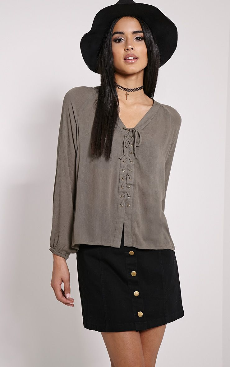Ameena Khaki Lace Up Front Blouse 1