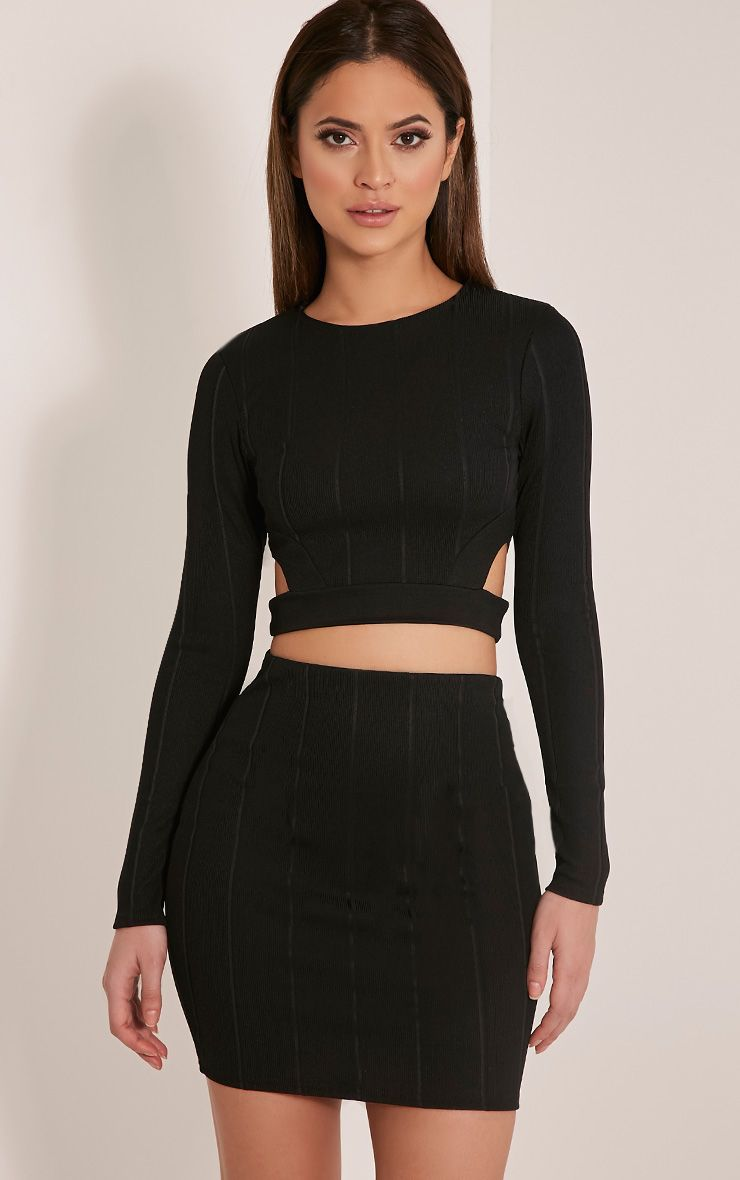 Miriam Black Cut Out Long Sleeve Bandage Crop Top 1