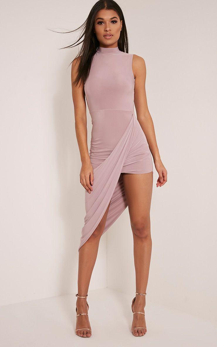 Petite Prim Mauve Slinky Drape Asymmetric Dress 1