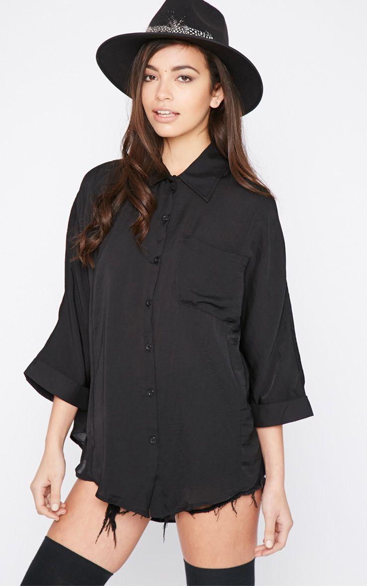 Melita Black Dip Hem Batwing Sleeve Shirt 1