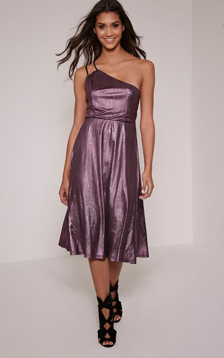 Stephy Purple Metallic Skater Dress
