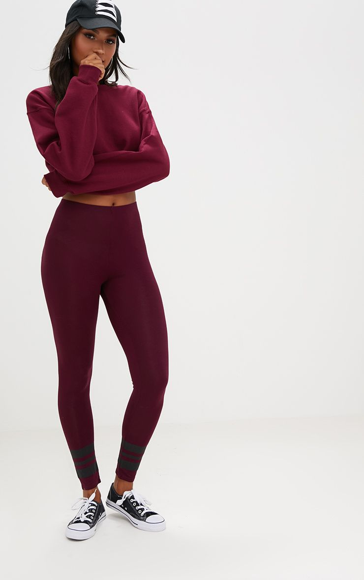 Burgundy Track Stripe Cuff Leggings