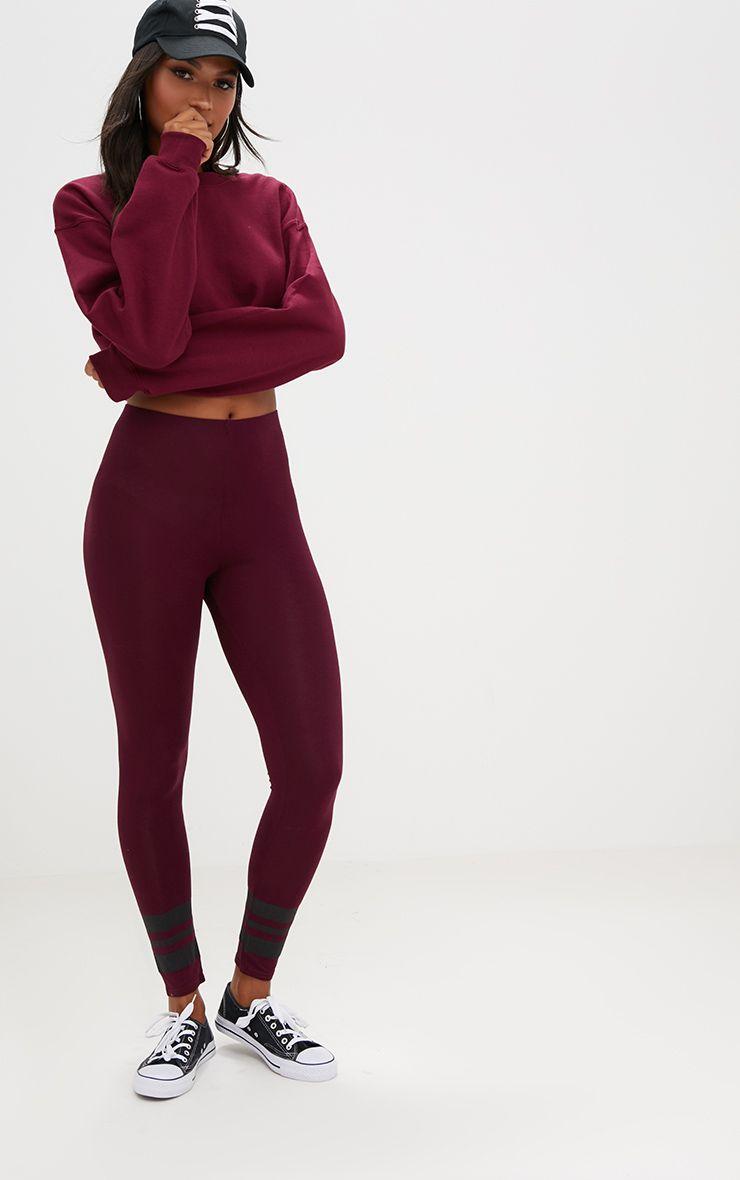 Burgundy Track Stripe Cuff Leggings
