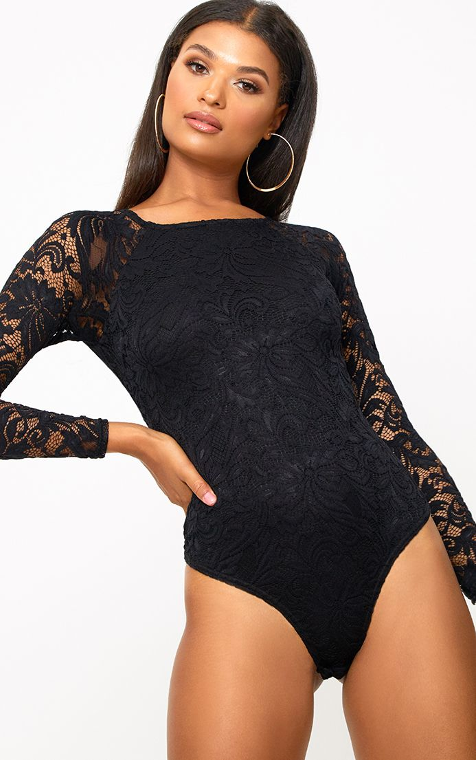 Black Lace Longsleeve Thong Bodysuit