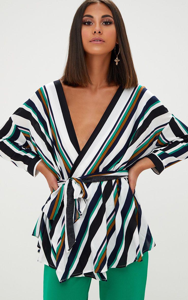 Navy Bold Stripe Tie Waist Blouse