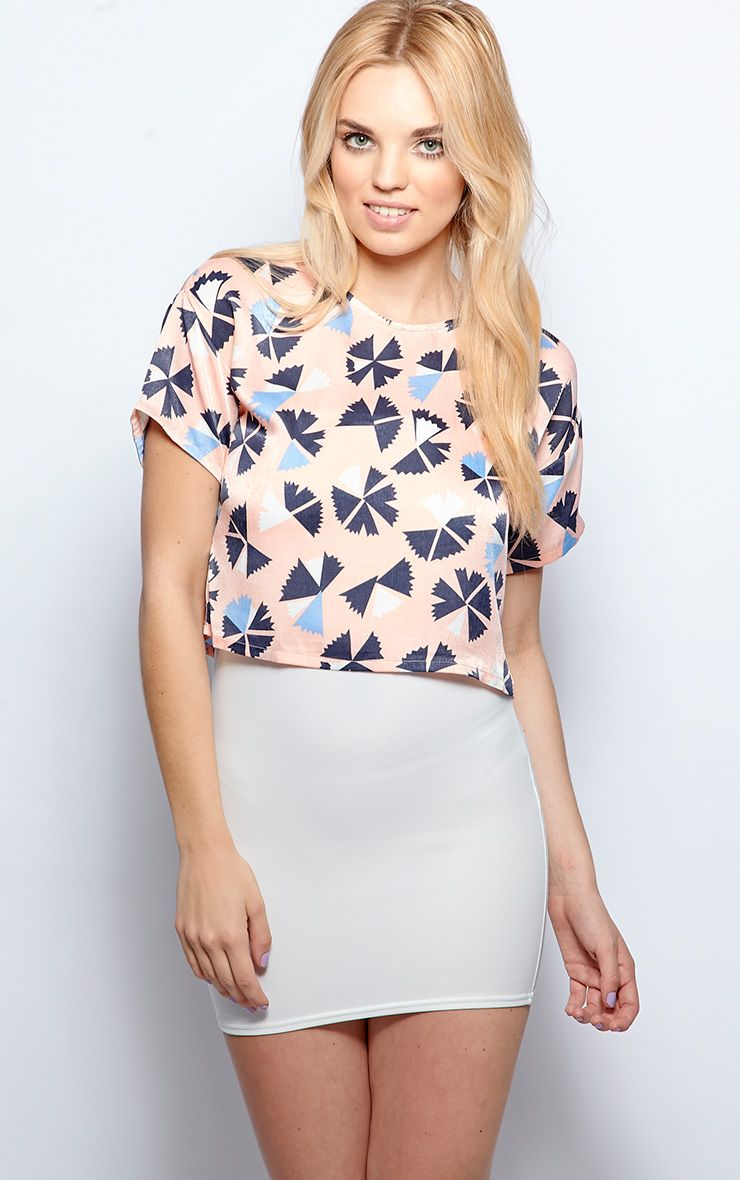Natalie Pink Satin Abstract Print Crop Top 1