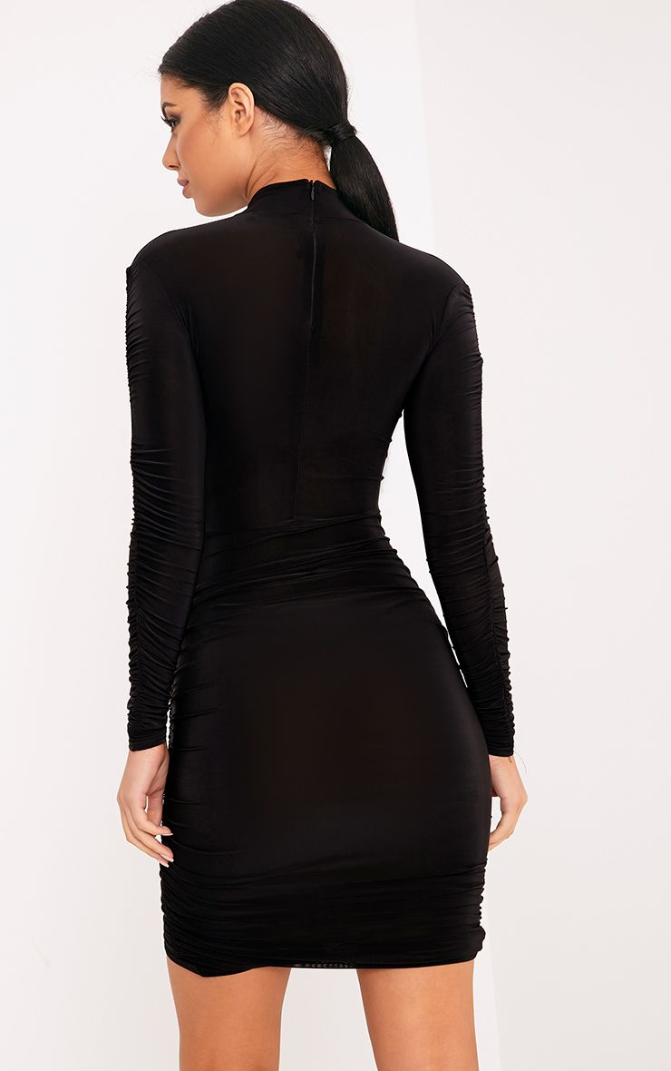 Sinitah Black Long Sleeve Ruched Bodycon Dress