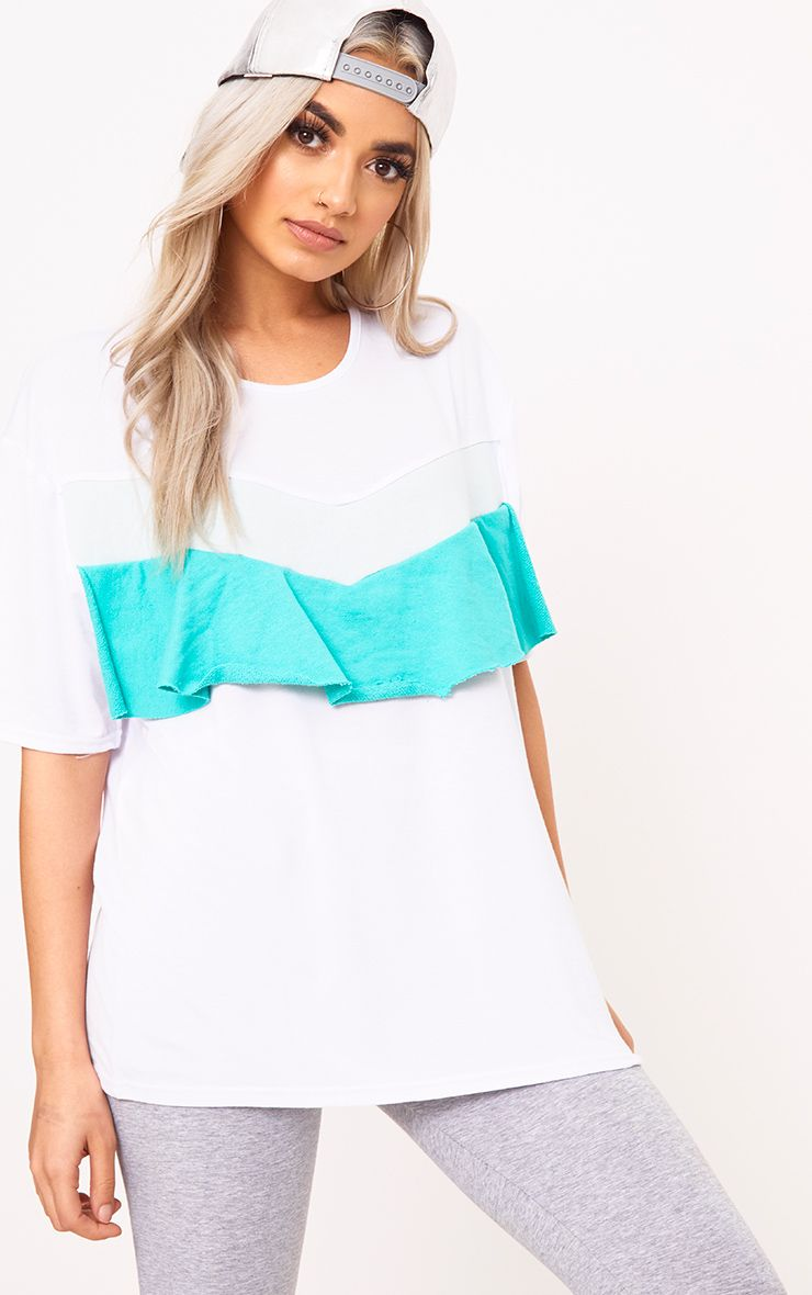 Jade Green Colour Block Frill T Shirt