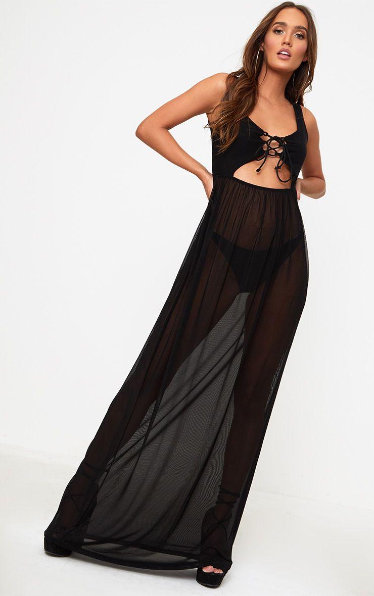 Black Sheer Tie Front Mesh Maxi Dress
