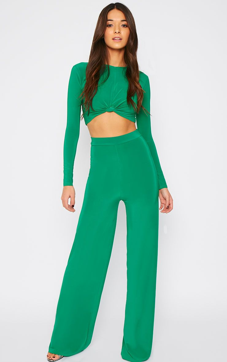 Zafia Green Palazzo Trousers 1