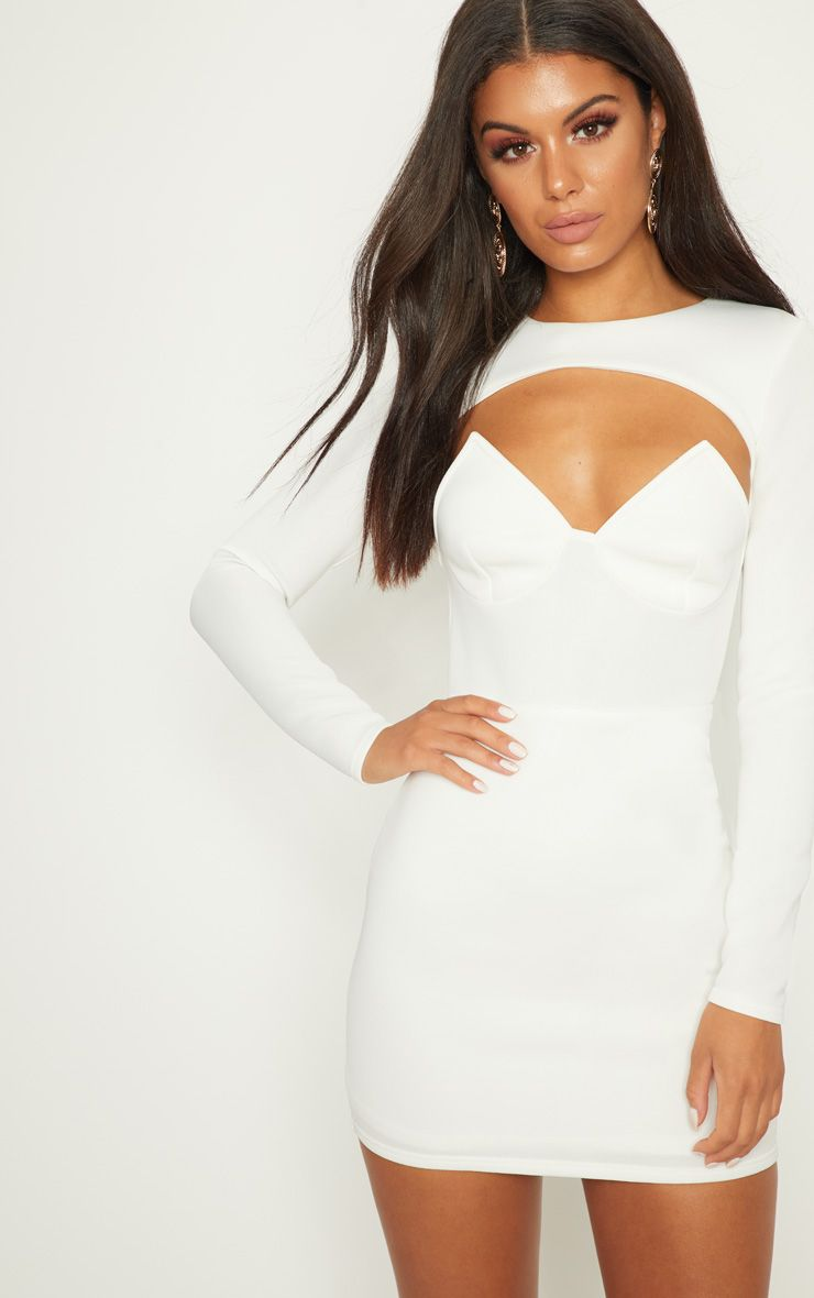 White Long Sleeve Plunge Cut Out Detail Bodycon Dress