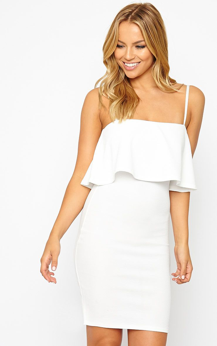 Hari Cream Frill Front Mini Dress 1