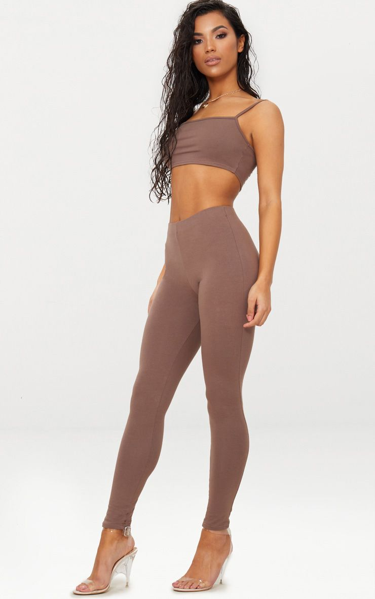 Brown High Waisted Cotton Stretch Leggings