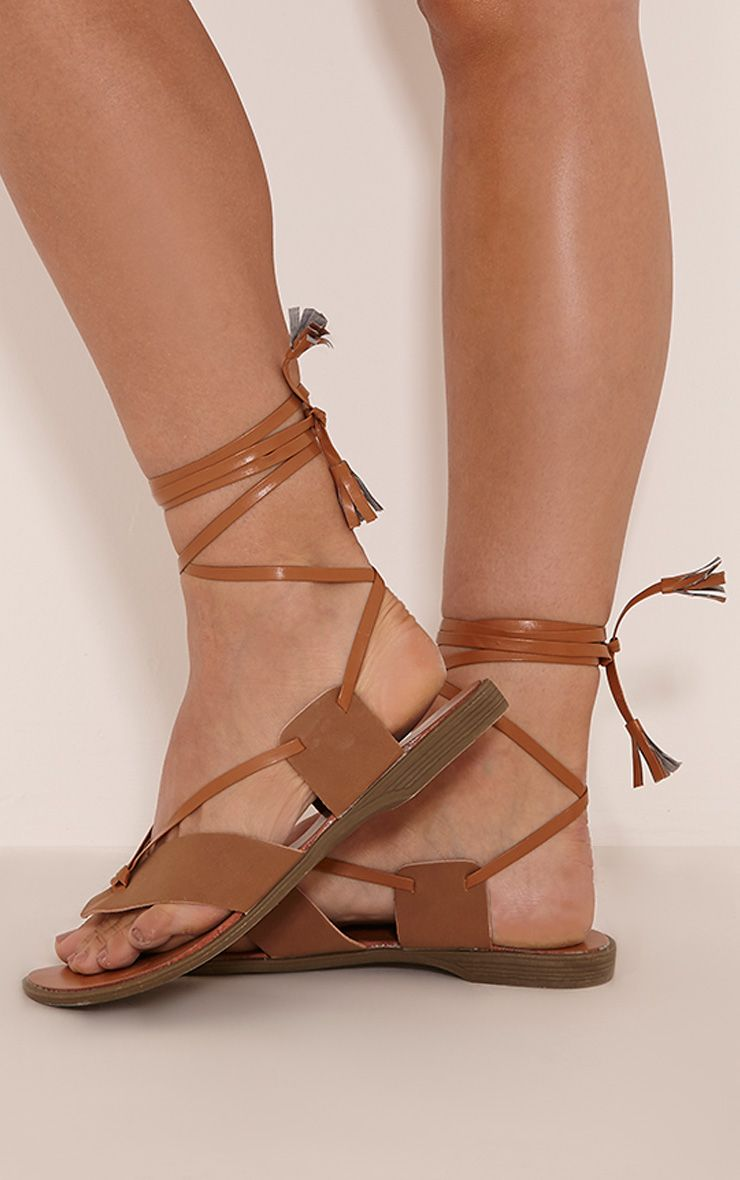 Marli Tan Panel Tie Sandals 1