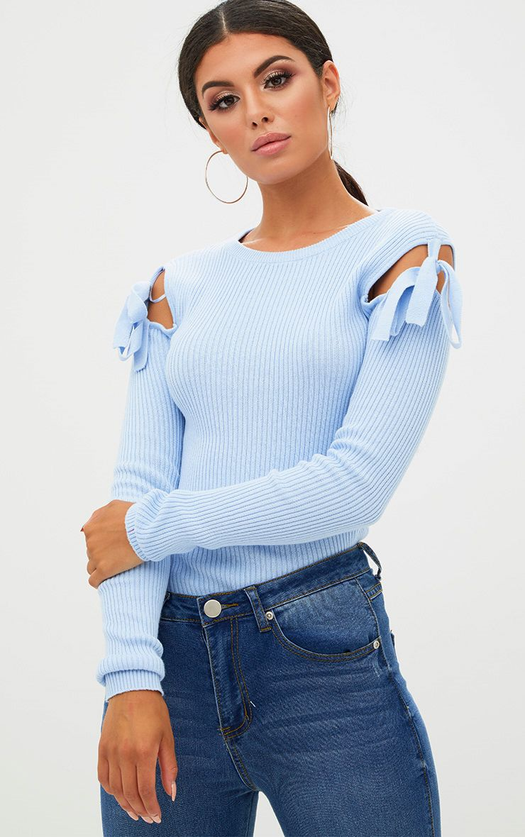 Pale Blue Bow Shoulder Detail Jumper