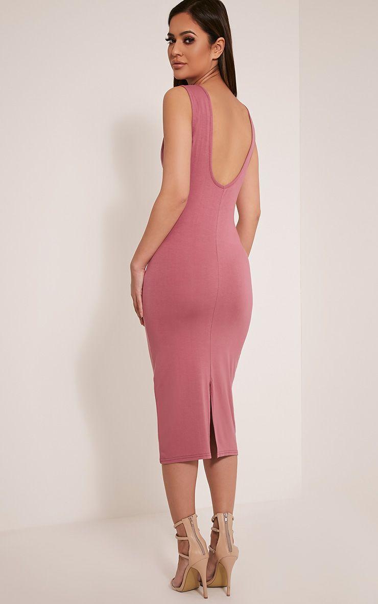 Basic Rose Drop Armhole Midi Dress 1