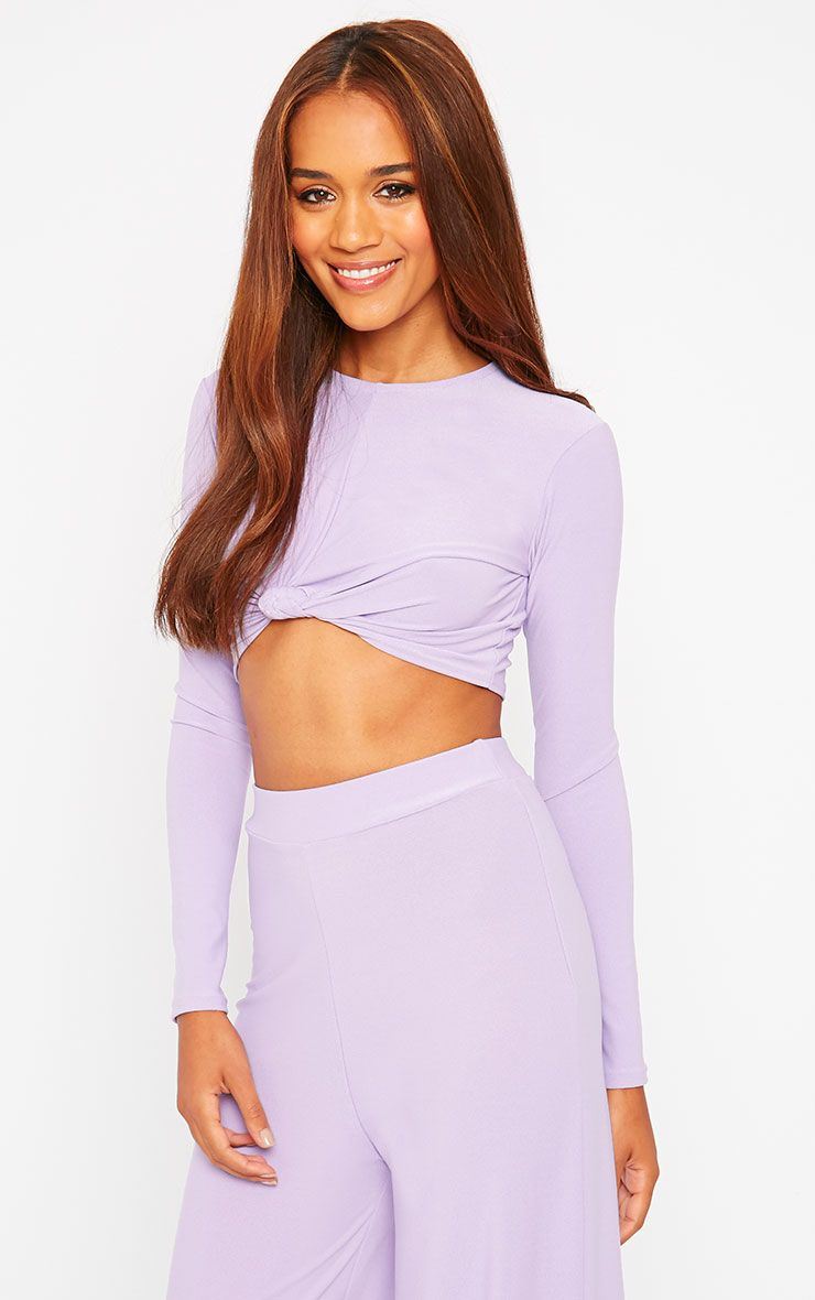 Zafia Lilac Crepe Knot Front Crop Top 1
