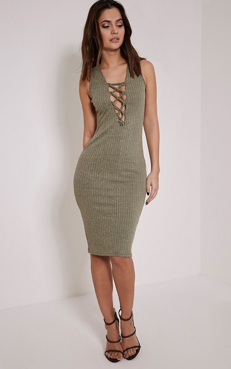 Trish Khaki Ribbed Lace Up Midi Dress 1