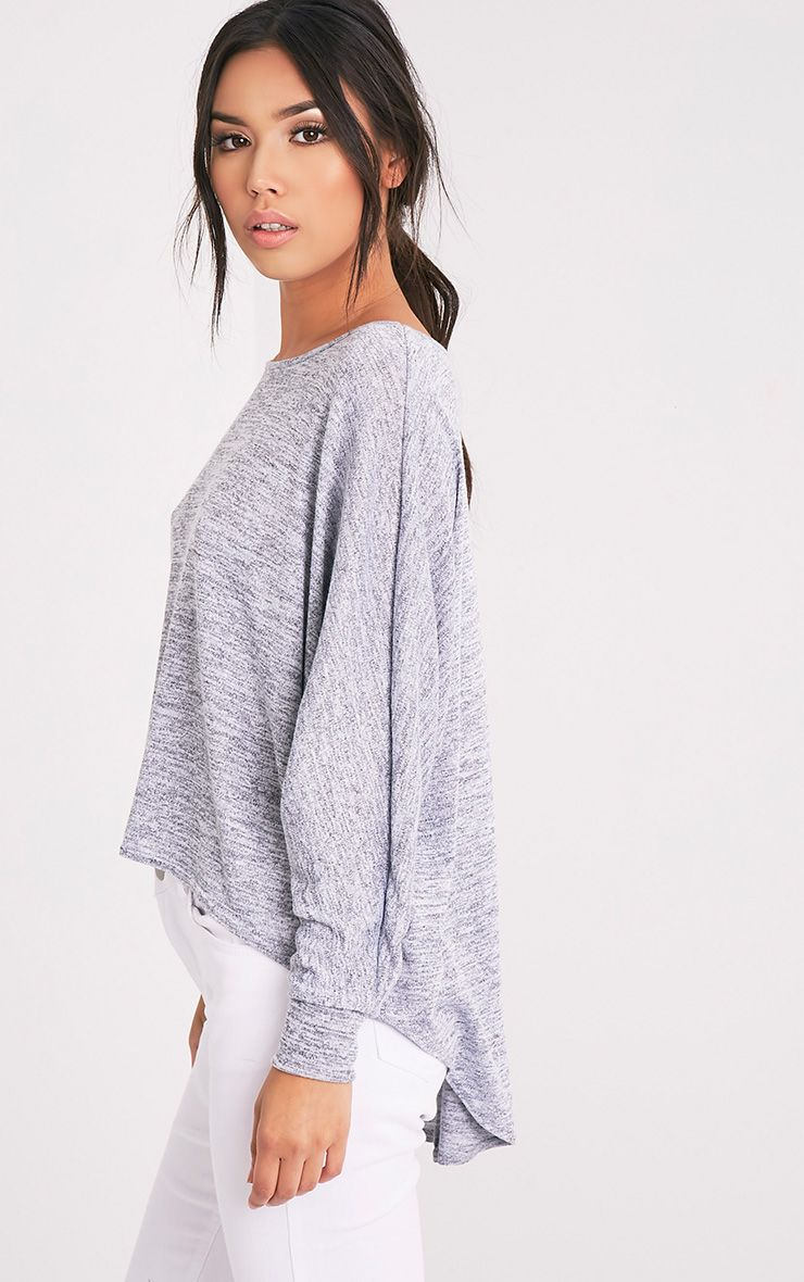 Alainie Grey Batwing Curved Hem Jumper 1