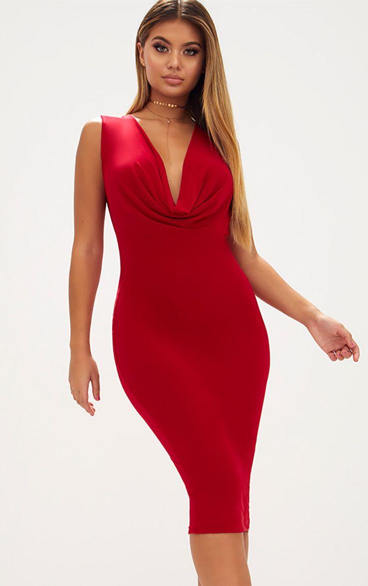 Red Slinky Cowl Neck Midi Dress