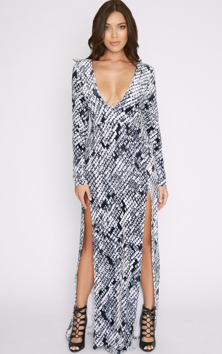 Willow Velvet Snake Print Double Split Maxi Dress 1