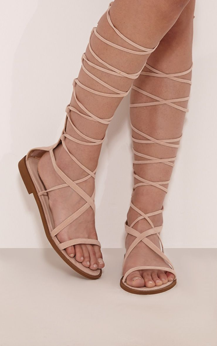 Izie Nude Lace Up Gladiator Sandals 1