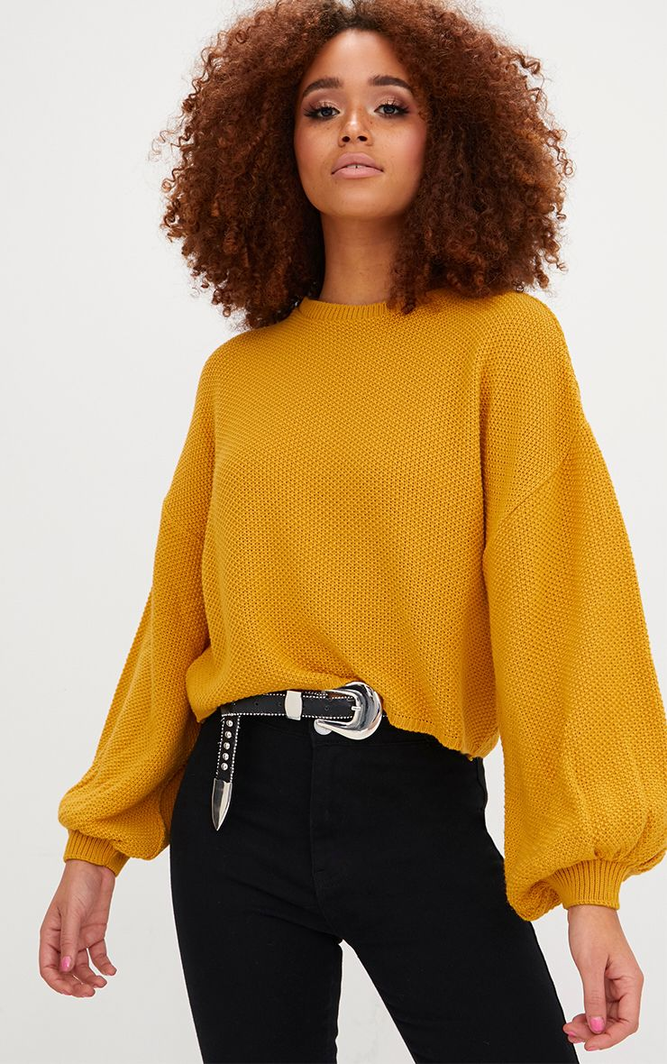 Mustard Balloon Sleeve Knitted Jumper