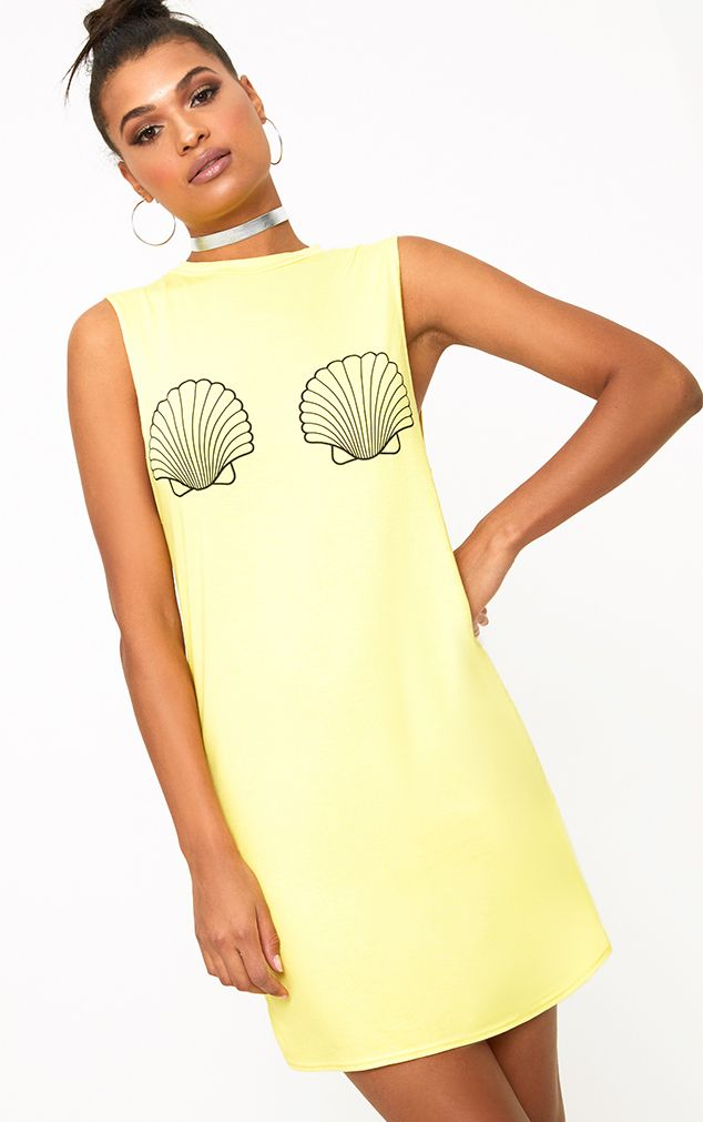 Yellow Shell Sleeveless T Shirt Dress
