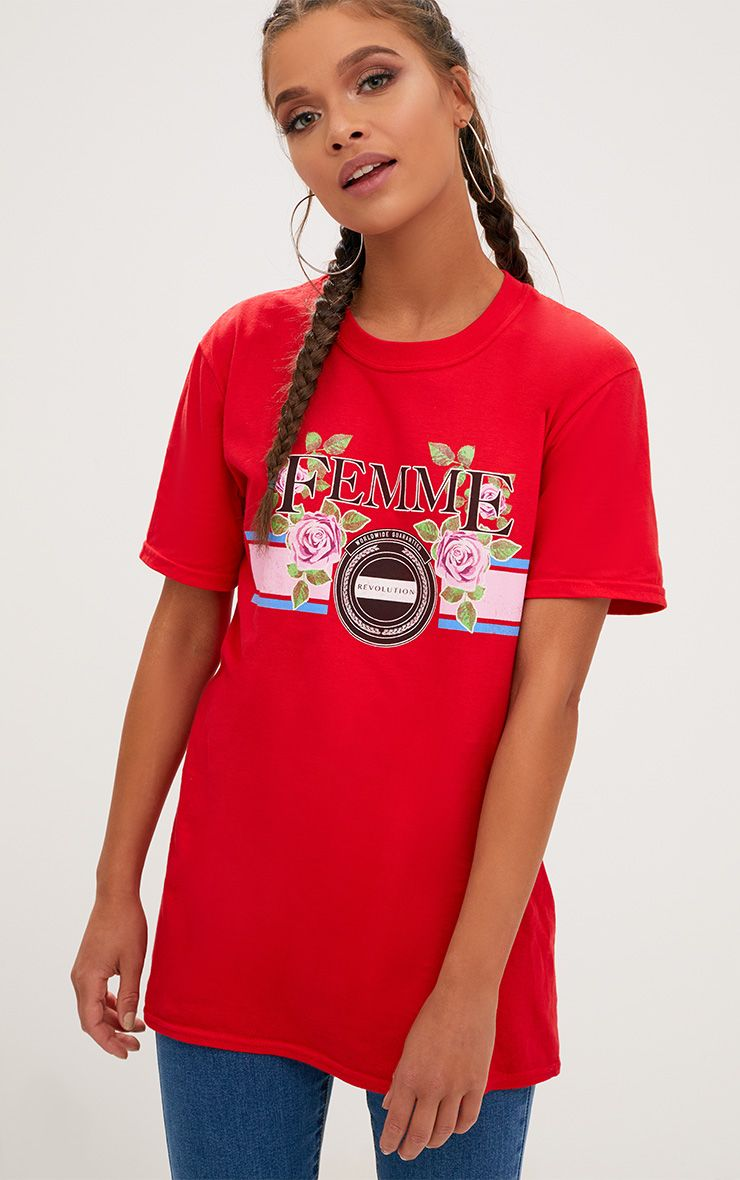 Red Femme Slogan Rose Oversized T Shirt