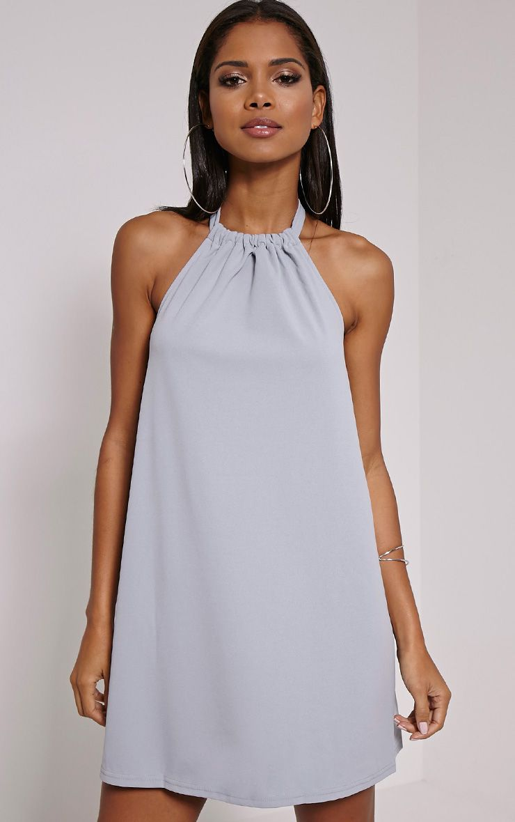 Eshe Grey Halterneck Swing Dress 1