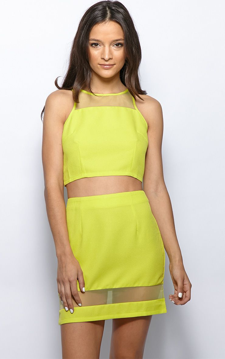 Iva Lime Mesh Panel Crop Top 1