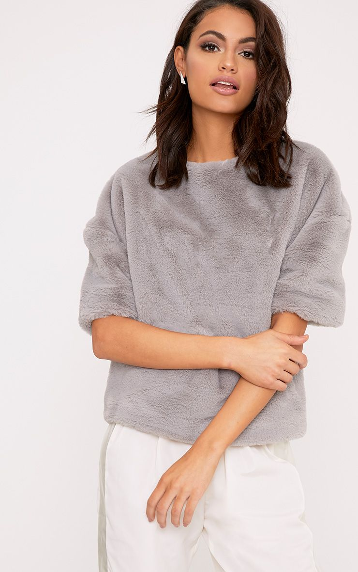 Daisi Grey Fluffy Sweater
