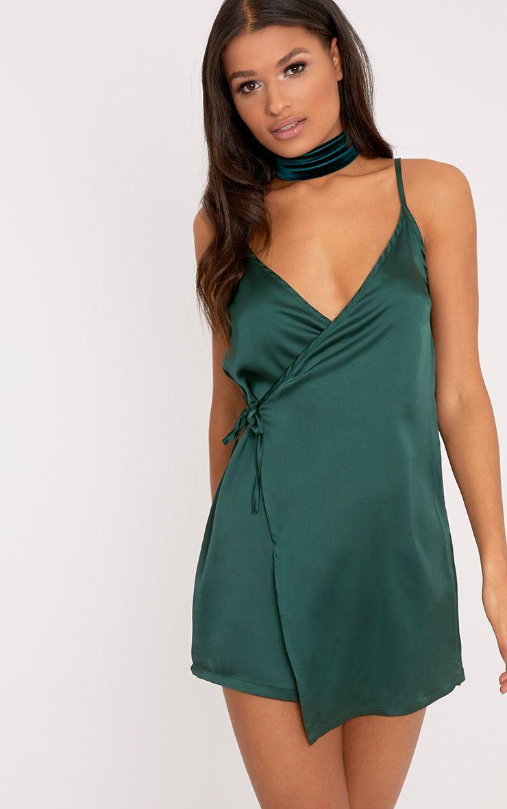 Pippa Green Satin Wrap Shift Dress