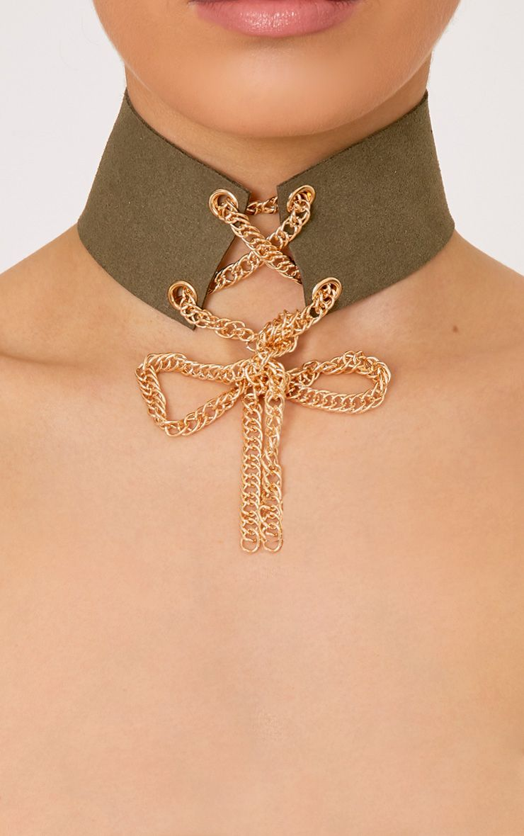 Tiffanie Khaki Lace Up Choker