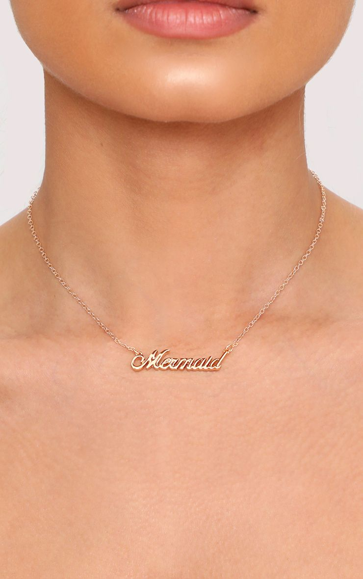 Gold Mermaid Slogan Necklace  1