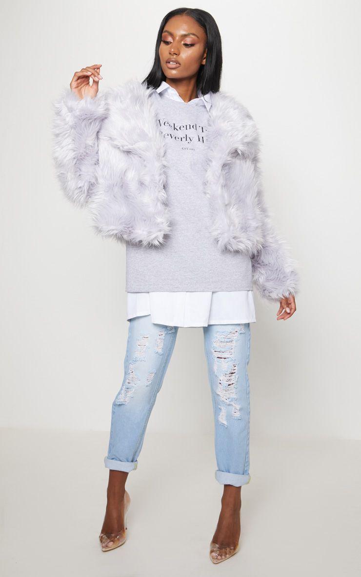 Ice Grey Faux Fur Jacket