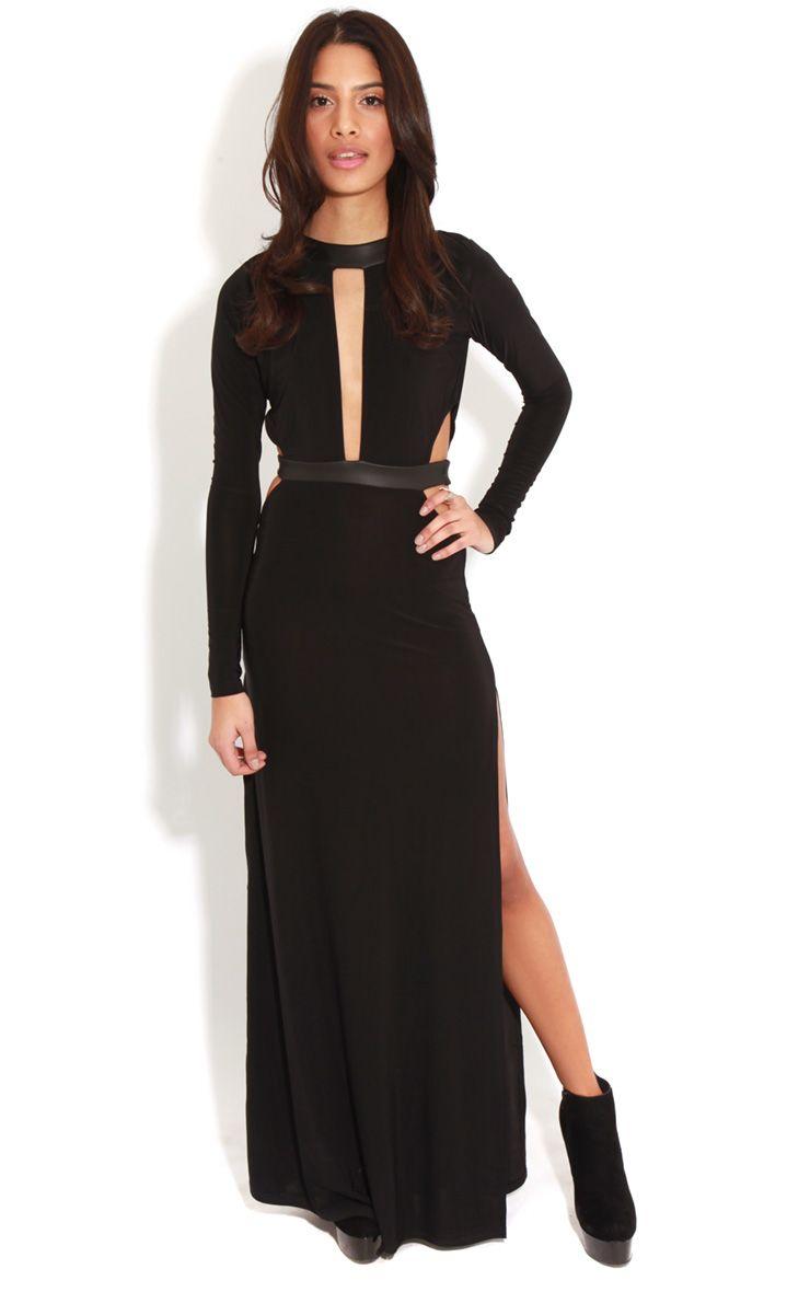Luce Black Long Sleeve Cut Out Maxi Dress -12 1