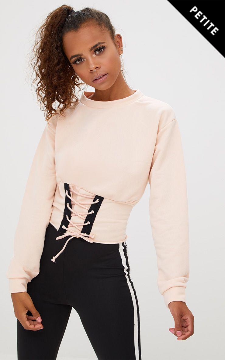 Petite Nude Corset Detail Sweater