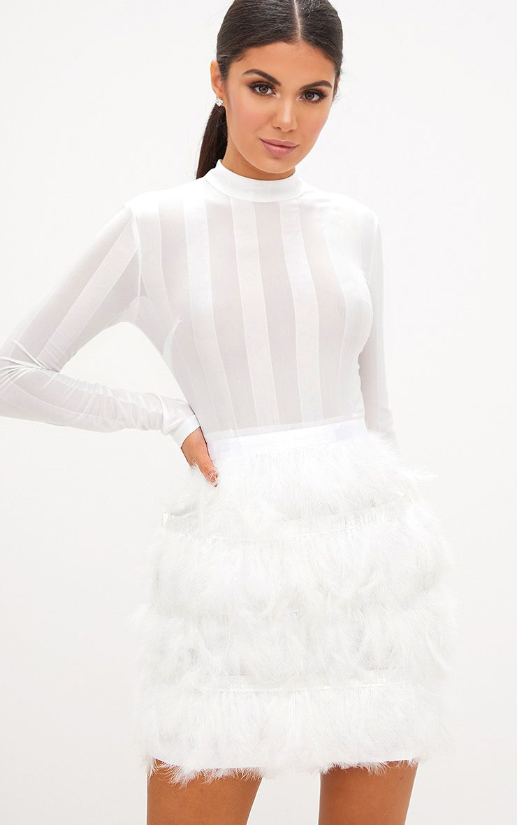 Fawn White Feather Skirt Bodycon Dress