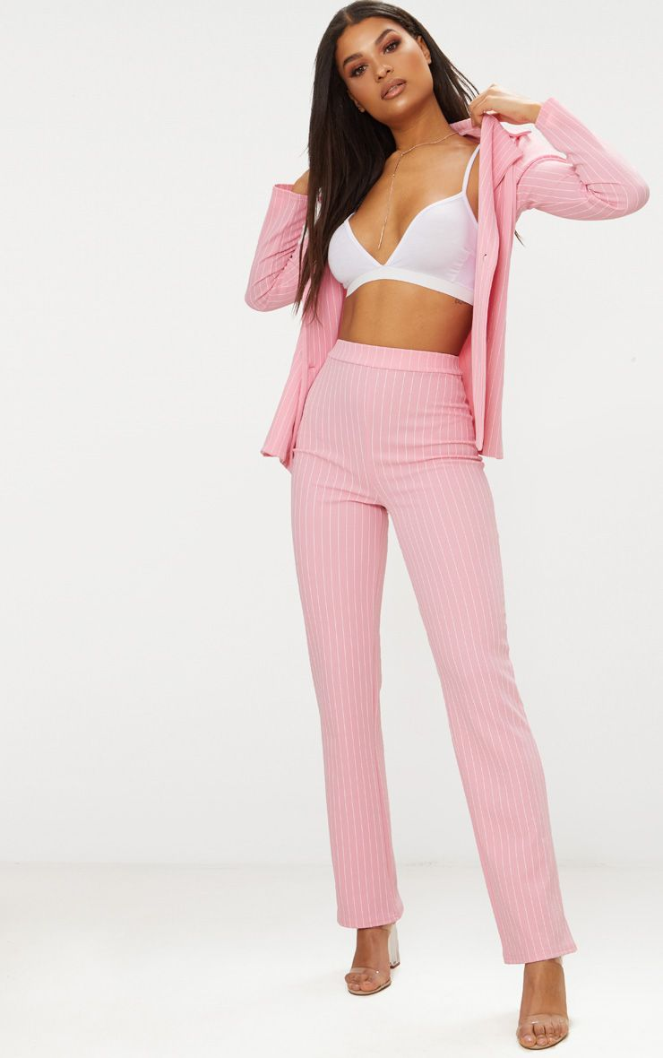 Pink Pin Striped Straight Leg Trouser